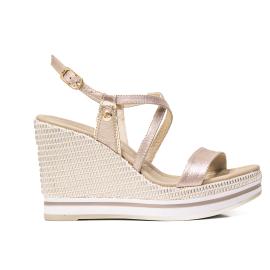Nero Giardini sandalo con tacco alto colore platino e modello P908331D 672
