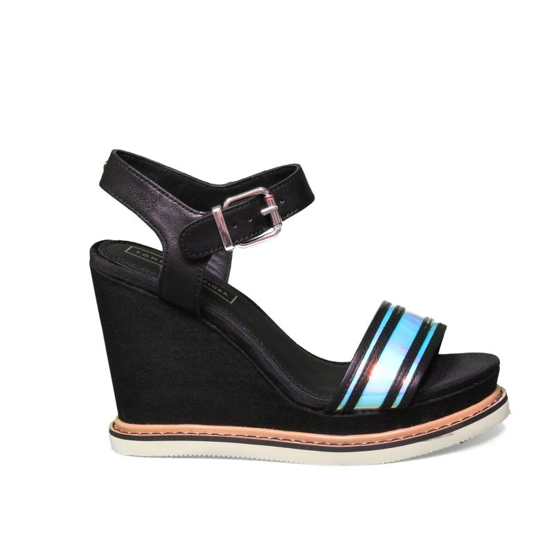 Tommy Hilfiger Feminine Wedge Sandal Basic, Plateau Donna, Nero (Black 990), 40 EU