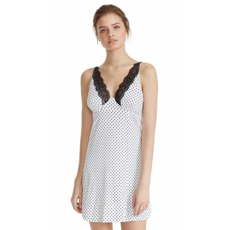 molto carino 305ed bf1ca PROMISE SLIP camicia da notte bianca con pois ART:Z6137