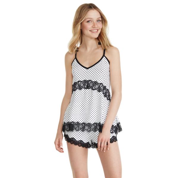 PROMISE PIJAMA PANTALON CORTO camicia da notte con pois colore Blanco ART:N07072