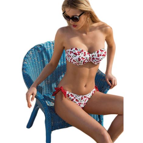 Ysabel Mora swimwear bikini bianco e rosso con ciliegie 81102