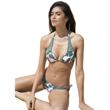 Ysabel Mora Swimwear Push-up Bianchi e verdi con foglie 81193