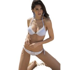 Ysabel Mora Swimwear Bikini Azzurro e Bianco con pizzo 81215