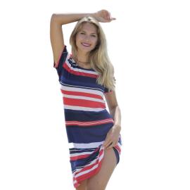 Massana Homewear vestito donna colore blu a strisce orizzontali rosse e bianche a maniche corte Art.L197220