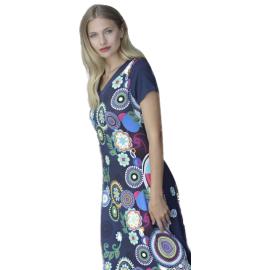 Massana Homewear vestito lungo donna colore blu con fantasia astratta a maniche corte Art.L197273