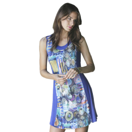 Massana Homewear vestito corto donna colore blu con spalline Art.L197270