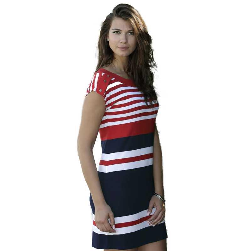 huge discount ed996 b0b63 Massana Homewear vestito donna colore blu e rosso a maniche corte  Art.E197245