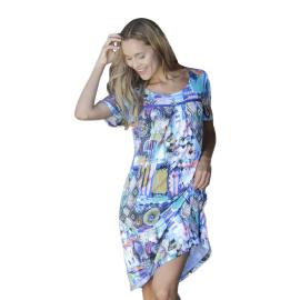 Massana Homewear vestito donna colore multicolor blu a maniche corte Art.L197271