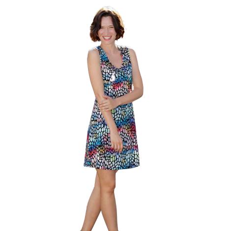 Massana Homewear dress multicolor woman with shoulder straps Art.L187256