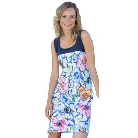 Massana Homewear vestito donna con stampa a fiori e con delle spalline di colore blu Art.L187252