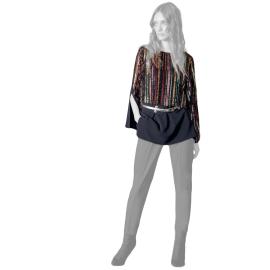 Edas maglia lunga con spacco paillettes multicolor modello Palba
