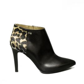 Nero Giardini tronchetto donna con tacco stiletto e raso leopardato colore nero articolo A9 09322 DE 100