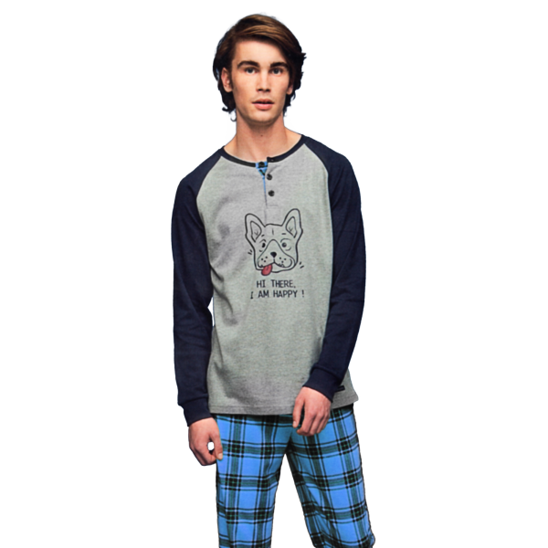 Noidìnotte Pajamas man warm blue cotton article FC2041AB