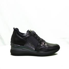 Nero Giardini sneaker donna glitterata con zeppa alta colore nero articolo A9 08860 D 100