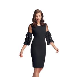 Frank Lyman Design abito corto colore nero con perline sulle maniche articolo 183120U