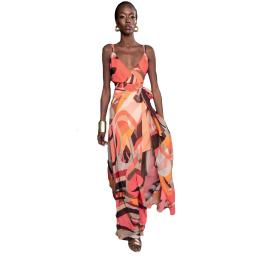 Edas long sleeveless dress with V-neckline color multi peach peep item