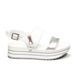 Nero Giardini women's sandal with medium wedge silver color article E012590D 700