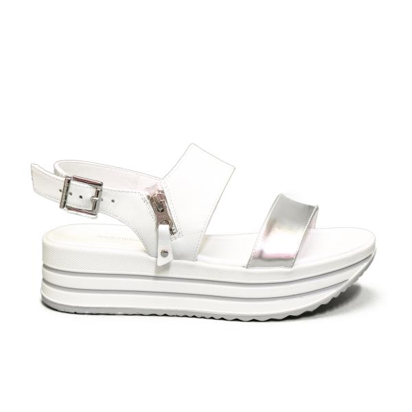 Nero Giardini sandalo donna con zeppa media color argento articolo E012590D 700