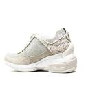 Fornarina Sneaker Zeppa Colore Beige / Argento Camoscio Articolo PEFDY7615WJA0600