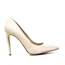 Francesco Milano High Heel Pumps With Glitter L086G Platinum