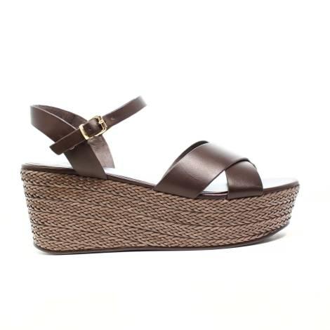 Luciano Barachini Woman Wedge Sandal Leather 6017D TDM Dark Brown