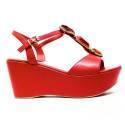 Luciano Barachini Wedge Sandals Women High Leather 6315D SURIMI