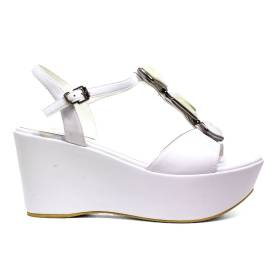 Luciano Baracchini Sandalo Donna Zeppa Alta In Ecopelle 6315A Bianco