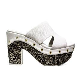 Luciano Baracchini Sandalo Donna Tacco In Ecopelle 6025 B Bianco Nero