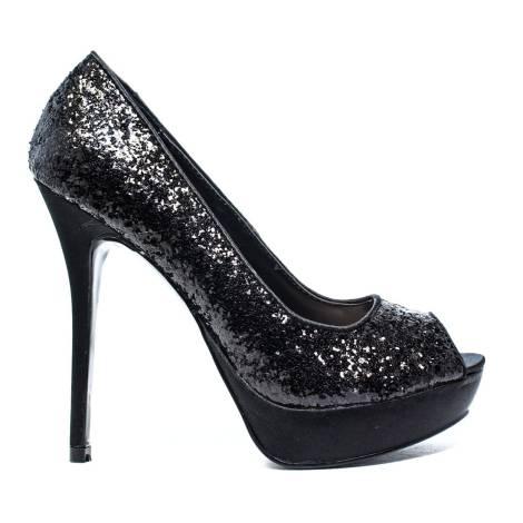 Ikaros Sandal Jewel Elegant Silver A2610 Black