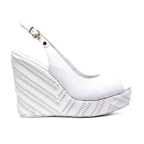 Luciano Barachini Wedge Sandals Women High 6007 A White Black