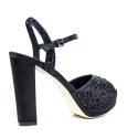 Luciano Barachini Woman Sandals Wedge Article 6256 C Black Satin