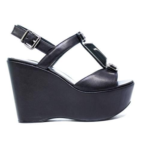 Luciano Barachini Wedge Sandals Women High 6321 B Black