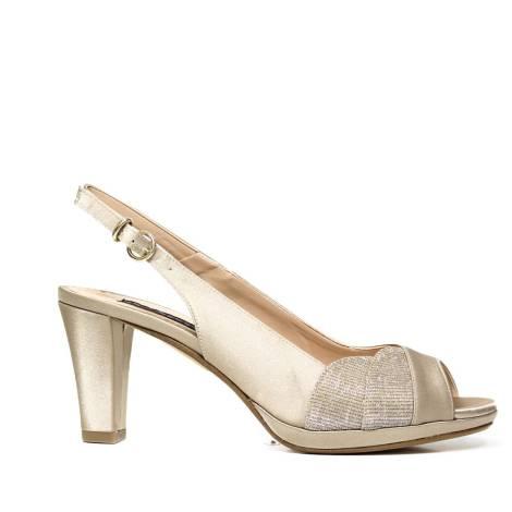 Bacta De Toi 309 400 Sandalo In Raso Platino Con Tacco