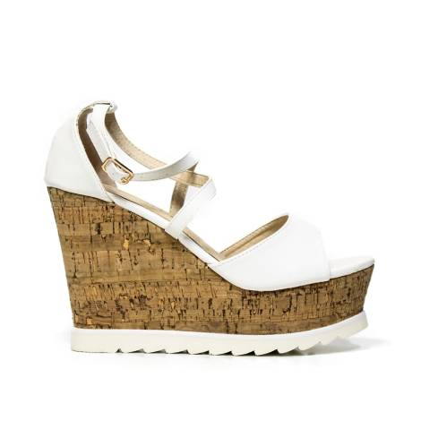 Sandals with high wedge Kharisma 9457 Soft white
