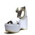 Janet Sport Sandalo Con Zeppa Alta 37783 Sandalo Sines Aveiro Bianco Platino