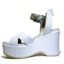 Janet Sport Sandals With Wedge High Sandal 37783 Sines Aveiro White Platinum